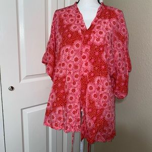Josie mayors red and pink short top